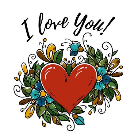 Happy Valentinstag-Karte. Ich liebe dich. Vektorillustration mit rotem Herzen, blühenden Blumen, grünen Blättern, Knospen.