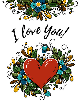 Poster for Valentines day. I love you. Vector illustration with red heart and flower composition. Beautiful Valentines day card.