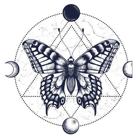 Butterfly,moon phases.Tattoo and T-shirt design.