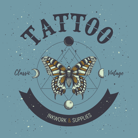 Tattoo studio poster. Classic and vintage tattoo. Butterfly, astrological symbols, phases of moon and sacred geometry.