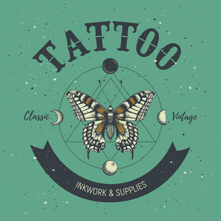 Tattoo parlor poster. Classic and vintage tattoo. Butterfly, astrological symbols, phases of moon and sacred geometry.