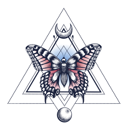 Mystical butterfly, pyramid and moon.Tattoo Design