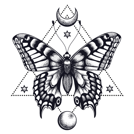 Mystical butterfly in triangle and half moon.