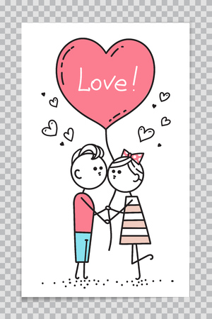 Template of Happy Valentines Card. Girl is kissing guy. Couple in love holding red heart shaped balloon with lettering Love. Vector illustration on transparent background.