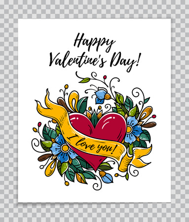Happy Valentines Day card with red heart , blooming flowers, ribbon with text I Love You. Calligraphy Happy Valentines Day. Vector illustration on transparent background.