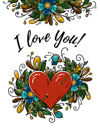 Template of Happy Valentines Day card with red heart pierced by gold arrow and heart decorated with flowers, buds, leaves. Calligraphy You Get Me. Vector illustration on transparent background.
