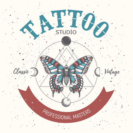 Banner for tattoo school, studio,parlor.Professional masters. Illustation with butterfly, triangle geometry, moon phases Ilustrace