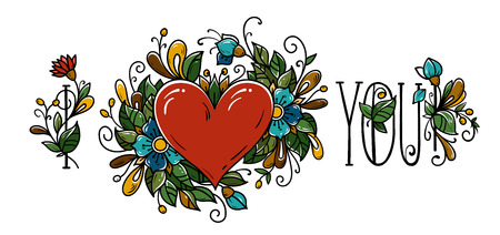 Calligraphy for Valentines day. Lettering I Love You with red heart decorated blue flowers, green and buds. Vector holiday illustration Ilustrace