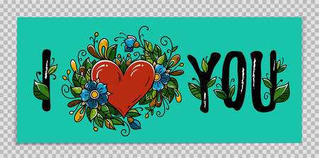 Valentines Day banner on transparent background. Hand drawing calligraphy I Love You and red heart decorated flowers and leaves. Vector inscription. Ilustração