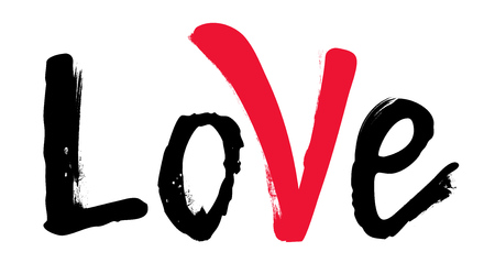 Word Love with red mark. Hand drawn brush. Grunge inscription. Valentines Day lettering. Ilustração