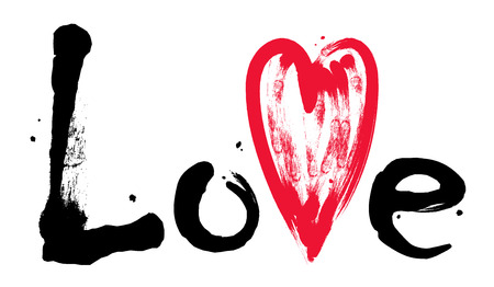Lettering Love with red heart. Hand drawn brush. Valentines Day Grunge inscription. Vector word Love.
