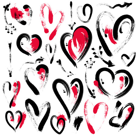 Set of hand drawn heart and arrows isolated on white background. Symbol of love. Elements by brush. Valentines Day illustration.