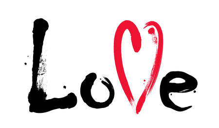 Word Love with red heart. Grunge lettering