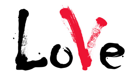 Black word Love with red mark. Valentines Day Ilustrace