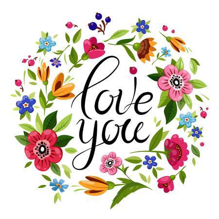 Hermosas letras te amo decoradas con flores de colores. Marco floral de vector con caligrafía. Elegante tarjeta de feliz día de San Valentín.
