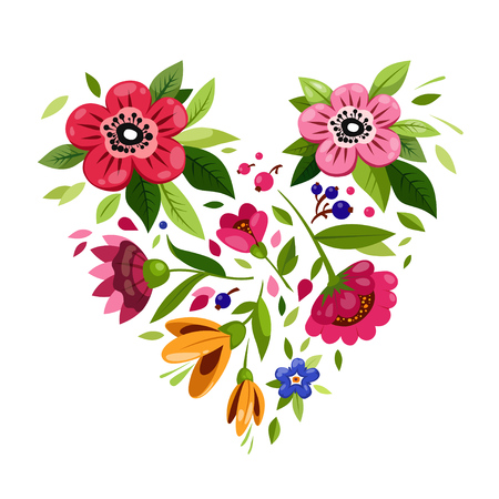 Flower heart. Heart from flowers. Vector illustration for holiday design. Symbol of love, romantic,passion