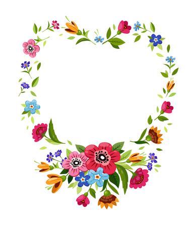 Blumenrahmen in Herzform. Vektorblumenrahmen für Feiertagskartendesign. Illustration mit Blumenkranz mit wilden Blumen. Symbol für Romantik, Leidenschaft.