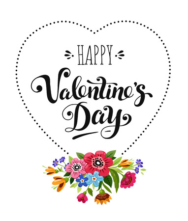 Happy Valentines Day card. Elegant lettering in heart frame decorated flowers. Vector holiday illustration.