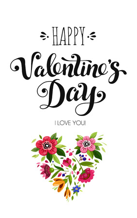 Happy Valentines Day card. Elegant lettering Happy Valentines Day and flower heart. Holiday calligraphy. Template of holiday card. Stockfoto - 126039773