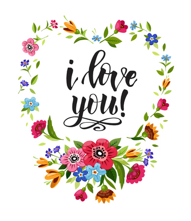 Happy Valentines Day card. Elegant lettering I Love You in floral frame. Vector heart frame. Flower wreath with wild flowers.T-shirt design Stockfoto - 126039774