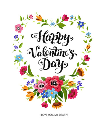Happy Valentines Day card. Elegant lettering Happy Valentines Day in floral frame. Vector heart frame. Flower wreath with wild flowers.