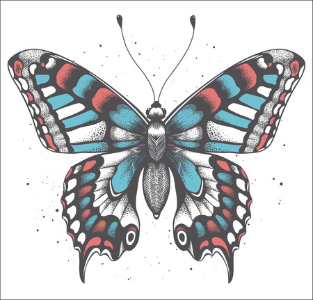 Tropica butterfly with shadow on white background with vector dust. Realistic illustration for tattoo butterfly or t-shirt design. Symbol of immortality and transformation. Boho style.