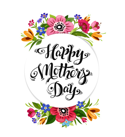 Happy Mothers Day greeting card. Elegant lettering in flower frame. Happy Mothers Day calligraphy decorated flowers. Ilustrace