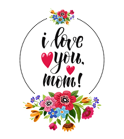 Happy Mothers Day greeting card. Elegant lettering decorated red hearts and flowers. I love you mom.