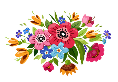 Buoquet of vector flowers. Stockfoto - 127557734