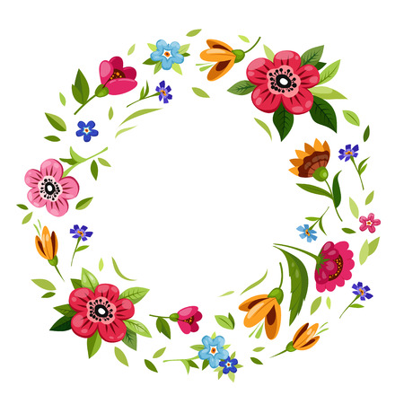 Round flower frame for invitation, greeting card, t-shirt design. Colorful floral wreath with vector flowers, branches, buds, leaves. Vintage style. Floral illustration with delicate summer flowers Ilustrace