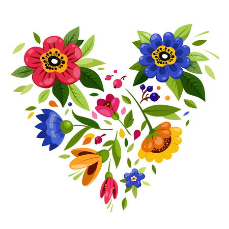 Flower heart. Heart from flowers. Vector illustration for holiday design. Symbol of love, romantic,passion. T-shirt design