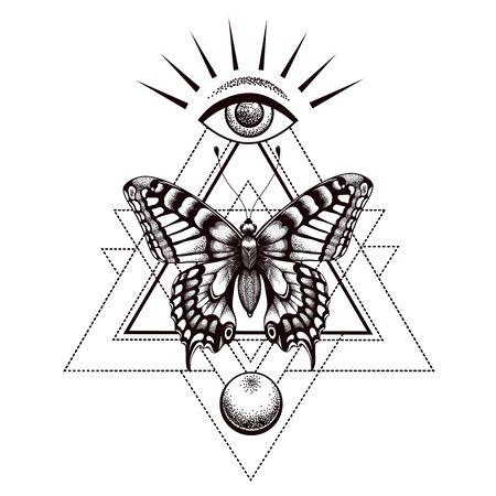 Conception de tatouage et de t-shirt de papillon sacré. Papillon en triangle, en haut se trouve l'œil qui voit tout d'Horus et la lune en bas. Vecteurs
