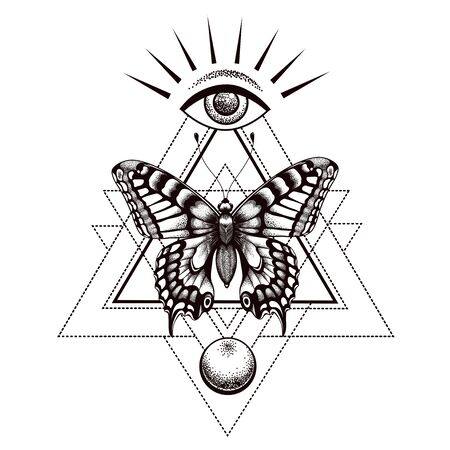 Sacral butterfly tattoo and t-shirt design. Butterfly in triangle, at top is all-seeing eye of Horus and moon below.