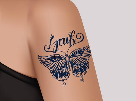 Butterfly Tattoo on female shoulder. Mystic butterfly tattoo with calligraphy Soul.