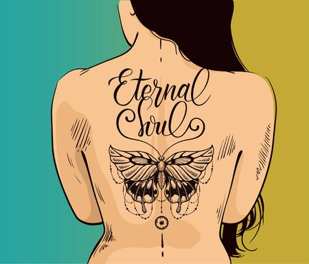 Illustration of woman with beautiful butterfly tattoo on back. Butterfly is symbol of eternal soul, new life