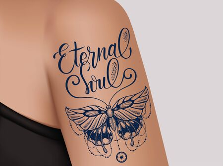 Butterfly tattoo on female shoulder. Mystic butterfly tattoo with lettering Eternal Soul. Ilustração