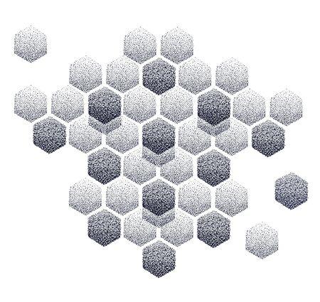 Beautiful honeycomb pattern. Dot work tattoo Фото со стока