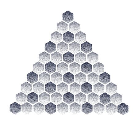 Pyramid of honeycombs. Dot work tattoo