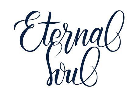 Handwritten brush calligraphy Eternal Soul 向量圖像