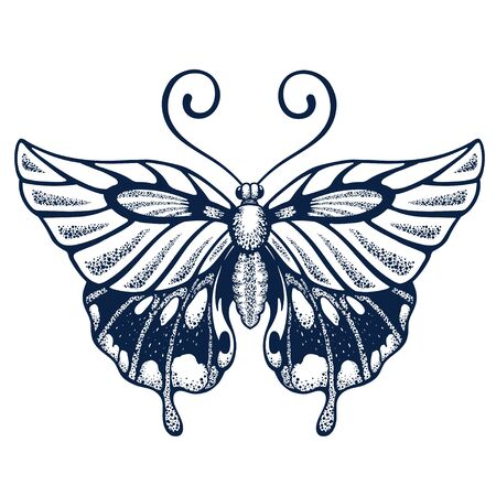Butterfly tattoo on body. Graphics for T-shirt