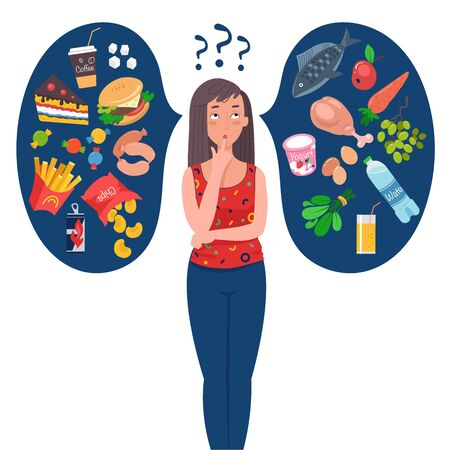 Fit woman choosing between healthy and unhealthy food. Healthy lifestyle concept. Woman chooses between fast food and healthy live food. Diet concept. Flat vector illustration.