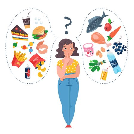 Fat Woman choosing between healthy and unhealthy food. Fast Food vs balanced menu comparison. Concepts diet and healthy eating. Female cartoon character. Flat vector illustration.