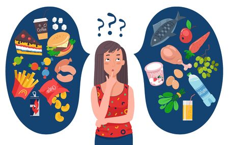 Dieting concept. Woman choosing between healthy and unhealthy food. Fast Food vs balanced menu comparison. Female cartoon character. Flat vector illustration.
