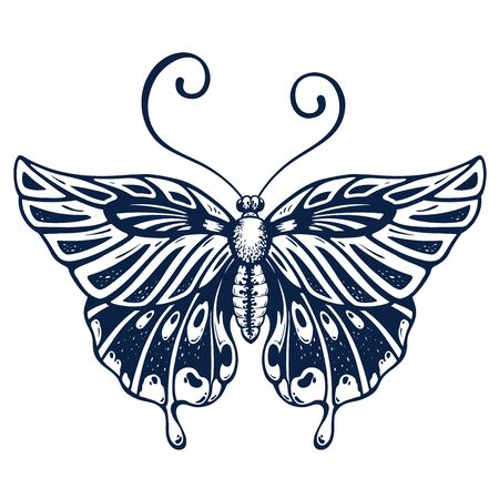 Beautiful Butterfly tattoo on body . Butterfly is symbol of Diving soul. Fashionable New tattoo design. T-shirt design. Ink jet tattoo 向量圖像