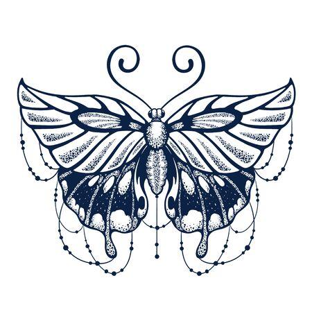 Beautiful Butterfly tattoo on white