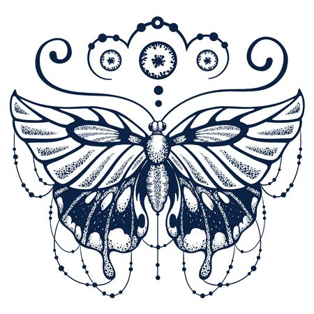 Butterfly delicately woven with calligraphy. Ornate decorated Butterfly is symbol of Diving soul. Fashionable New tattoo design. T-shirt design. Ink jet tattoo Çizim