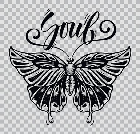 Beautiful Butterfly tattoo. 向量圖像