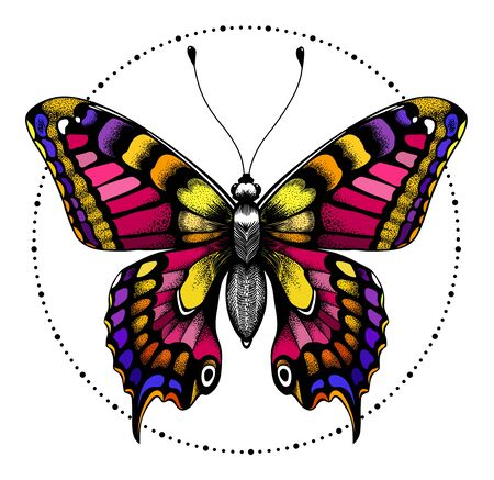 Beautiful butterfly in circle of beads. Symbol of immortality, beauty and transformation. Tattoo design or illustration for t-shirt. Element Air