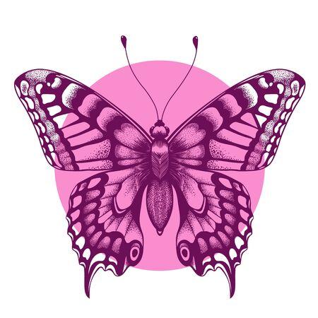 Beautiful butterfly T-shirt design. Beauty symbol