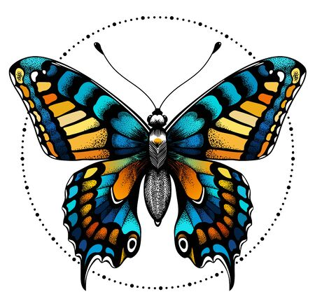 Tattoo butterfly in circle of beads. Beauty symbol 向量圖像